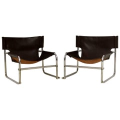 1960s Steel and Leather Pair of Armchairs, T1 by Rodney Kinsman for OMK