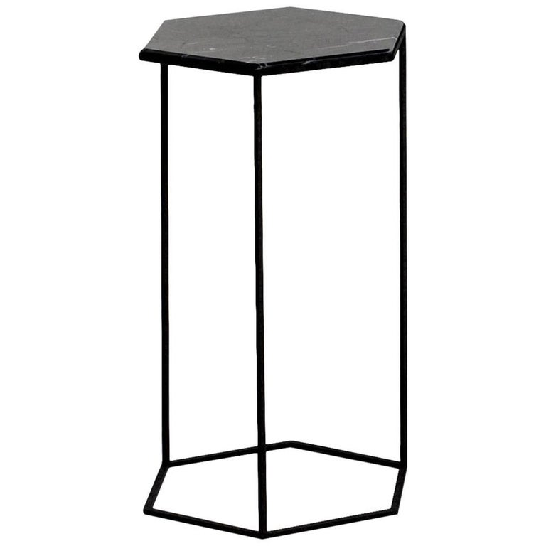 """""""Hexxed"""" Marble Top and Color Varnished Steel Side Table by Moroso for Diesel"""