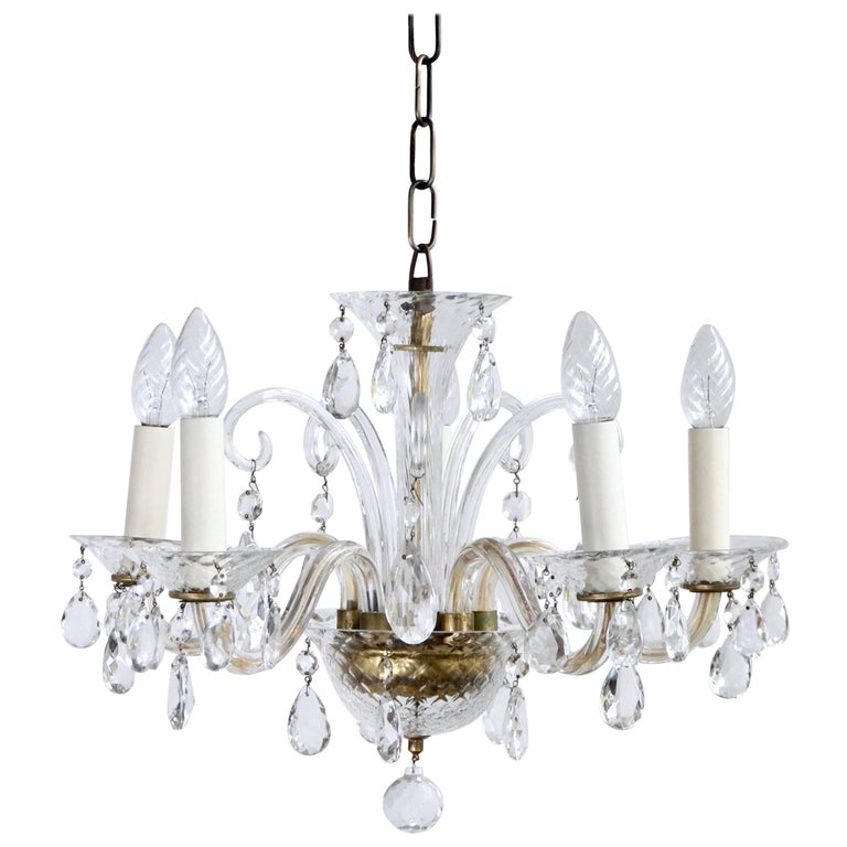 1950s Italian Murano Glass Chandelier Dressed in Crystal Pear Drops