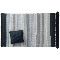 Blue and Stone Handmade Crochet Cotton and Polyester Thick Luxurious Textile Rug