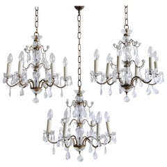 Delicate Pretty Glass and Brass 1930s French Chandeliers