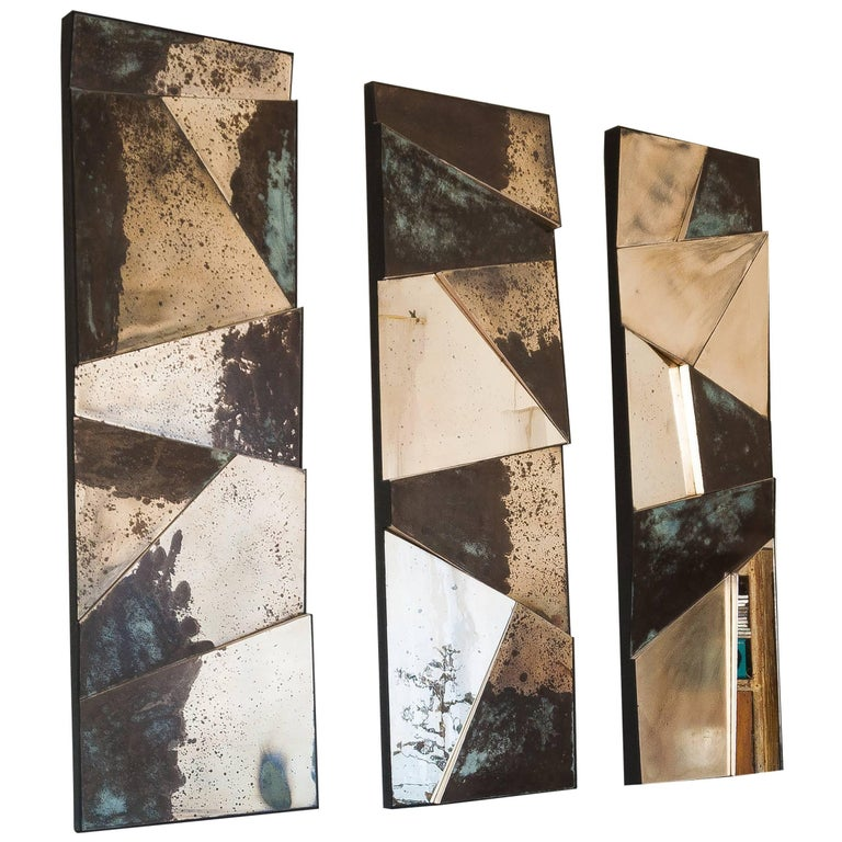 Group of 3 contemporary Sculpture Mirrors, Silvered Art Glass, now available   For Sale