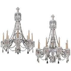 Fine Pair of Victorian Frosted and Cut Glass Eight-Light Chandeliers