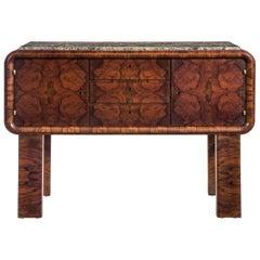 German Art Deco Burl Walnut and Marble Sideboard Cabinet