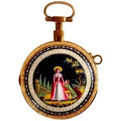 Enamel Mounted Gold Antique Swiss Pocket Watch by Breguet