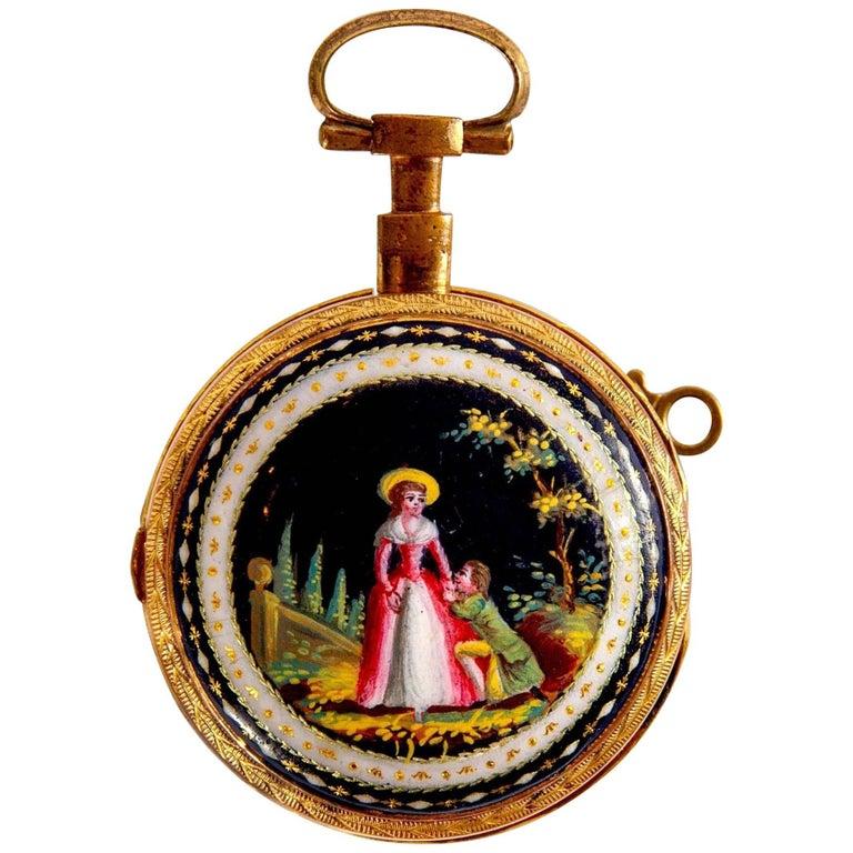 Enamel Mounted Gold Antique Swiss Pocket Watch by Breguet