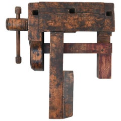 Antique Wooden Workbench Vise or Wall Sculpture