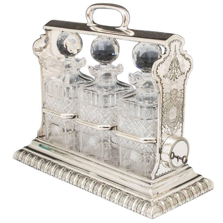 Silver Plate Victorian Decanter Tantalus For Sale