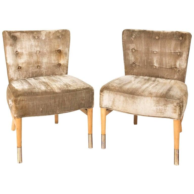 Pair of Italian Slipper Chairs, circa 1950