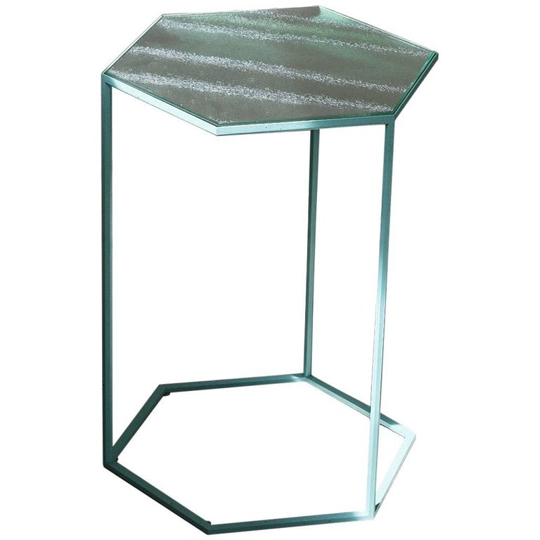 """""""Hexxed"""" Glass and Aluminum Top & Painted Steel Side Table by Moroso for Diesel"""