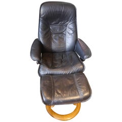 1970s Black Leather Reclining Chair with Foot Stool