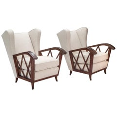 Paolo Buffa Pair of Comfortable Italian Cerused Wood and Upholstered Chairs