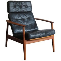 "1960s Arne Vodder Reclining Teak Scandinavian Armchair ""FD164"" for France & Søn"
