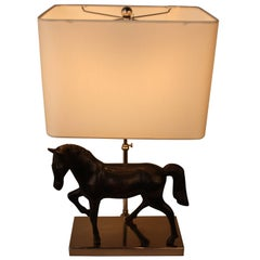 Bronze Horse Sculpture Table Lamp