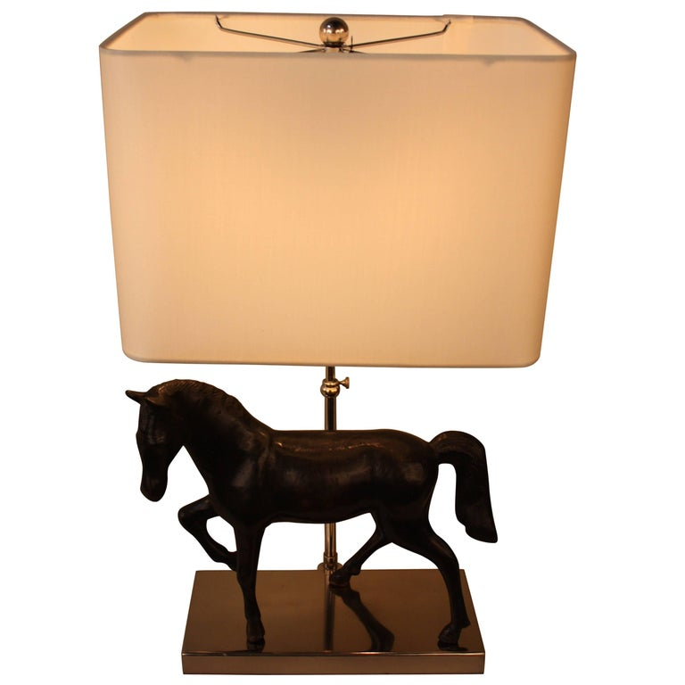 Bronze Horse Sculpture Table Lamp For Sale