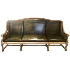 19th Century Gustavian Painted Leather Sofa