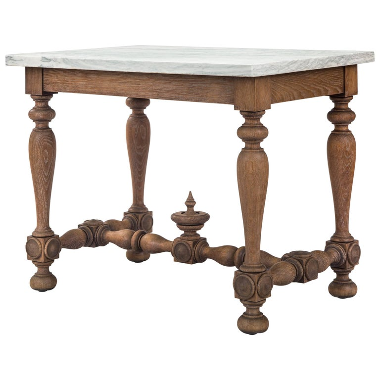 Swedish Baroque Revival Cerused Oak Table with Marble Top