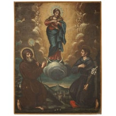 18th Century Italian Oil on Canvas the Ascension of Mary