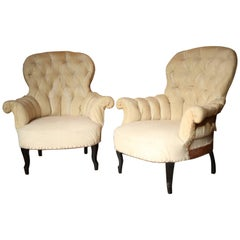 Pair of Napoleon III Buttoned Back Armchairs
