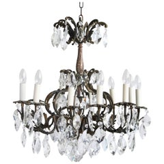 Early 1900s French Ornate Brass Chandelier with Cut-Crystal Iceberg Drops