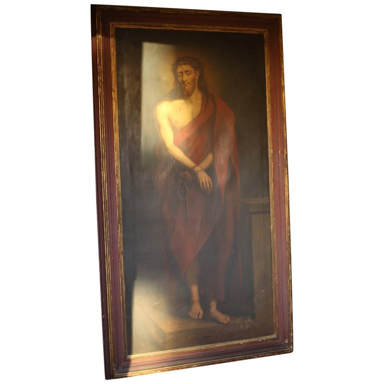 Huge 19th Century Oil on Canvas Painting of Christ