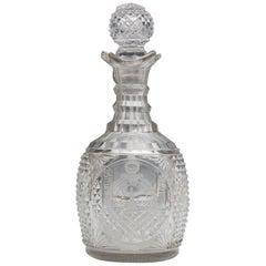 Exceptional Armorial Regency Claret Jug by Flint Glass Co