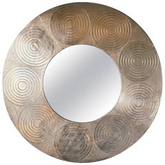 Very Large Circular Hammered Metal Mirror, 1970s