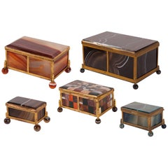 Set of Five 19th Century Gilt Agate Boxes