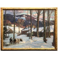 Aldro Thompson Hibbard Winter Landscape Painting, Sugaring Time, circa 1925