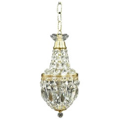 French Cut Crystal Glass Basket Chandelier