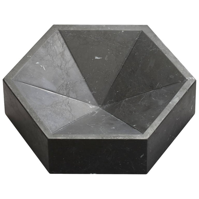 Constellation Marble Bowl, Large Low in Nero Marquina Marble, In Stock For Sale