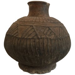 20th Century Brown African Vessel with Engraved Design