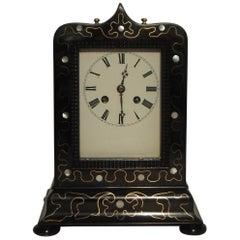 French 19th Century Ebonized and Inlaid Mantel Clock