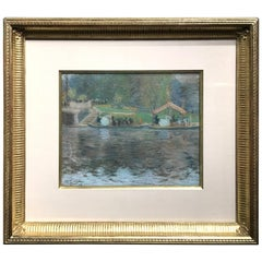 Arthur Clifton Goodwin Pastel Painting, Swan Boats in Boston, 1905