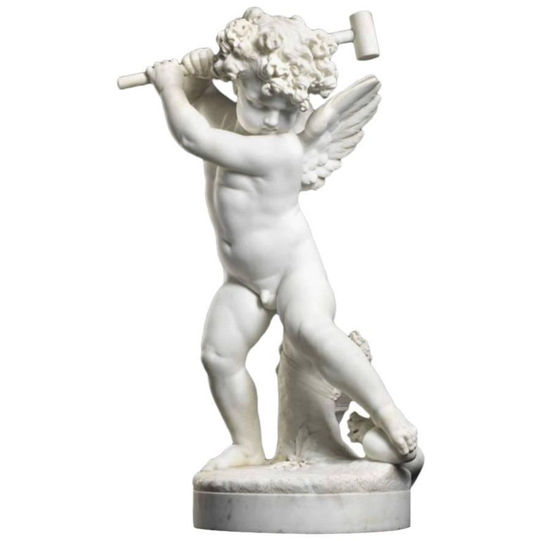 "Charles Adrien Prosper D'epinay, French ""Implacable Putto"" Marble Figure For Sale"