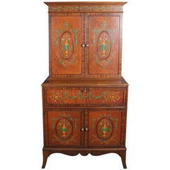 Antique Adam Style Painted Decorated Mahogany Drop-Front Secretary, 20th Century