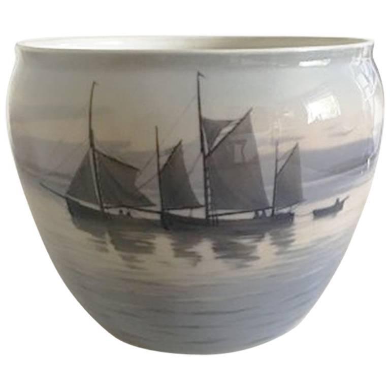 Paris Porcelain Art Nouveau Period Lamp Chinese Taste: Bing And Grondahl Art Nouveau Vase With Ship Motif #7090