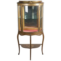 Antique French Demilune Vernis Martin School Giltwood Vitrine with Ormolu