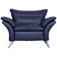 Musterring Designer Armchair Leather Night Blue One Seat Couch Modern