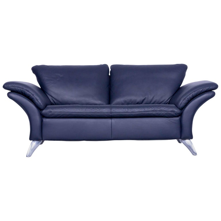 Musterring designer leather sofa night blue two seat couch for Musterring sofa