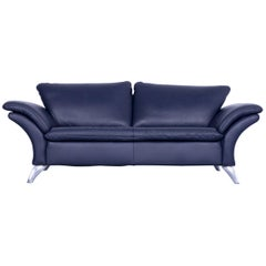 Musterring Designer Leather Sofa Night Blue Three-Seat Couch Modern