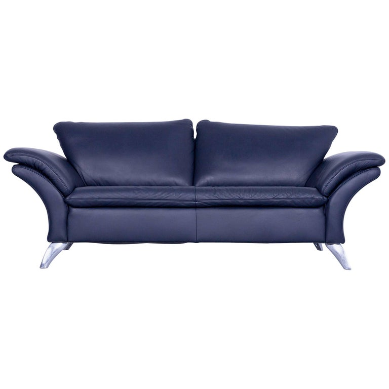Musterring designer leather sofa night blue three seat for Musterring sofa