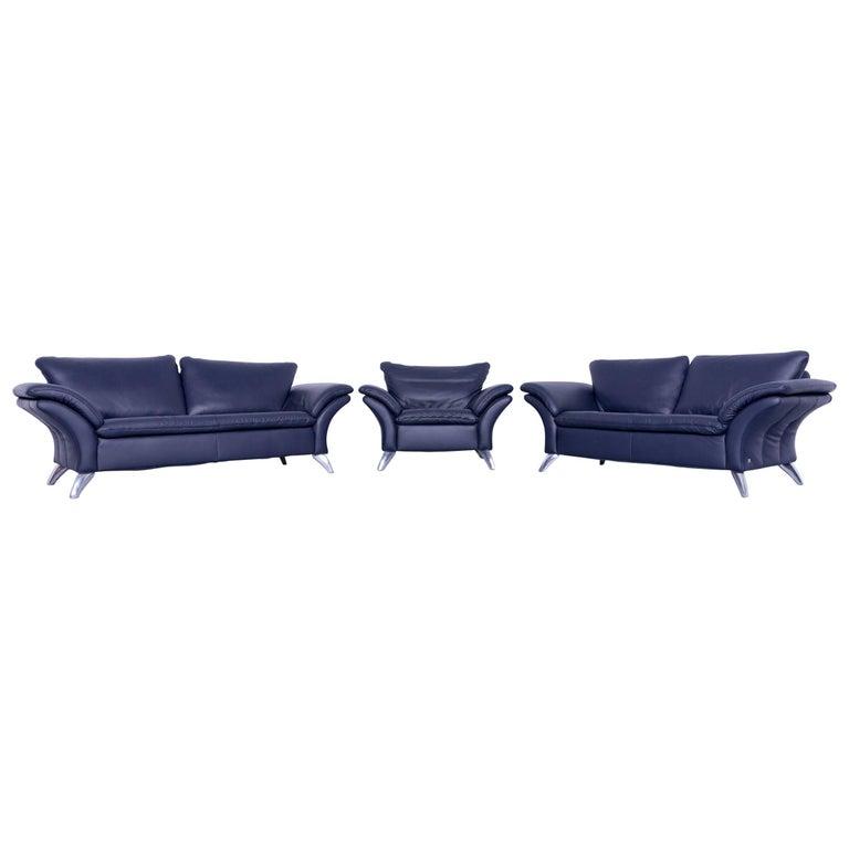 musterring designer sofa set leather night blue couch modern at 1stdibs. Black Bedroom Furniture Sets. Home Design Ideas