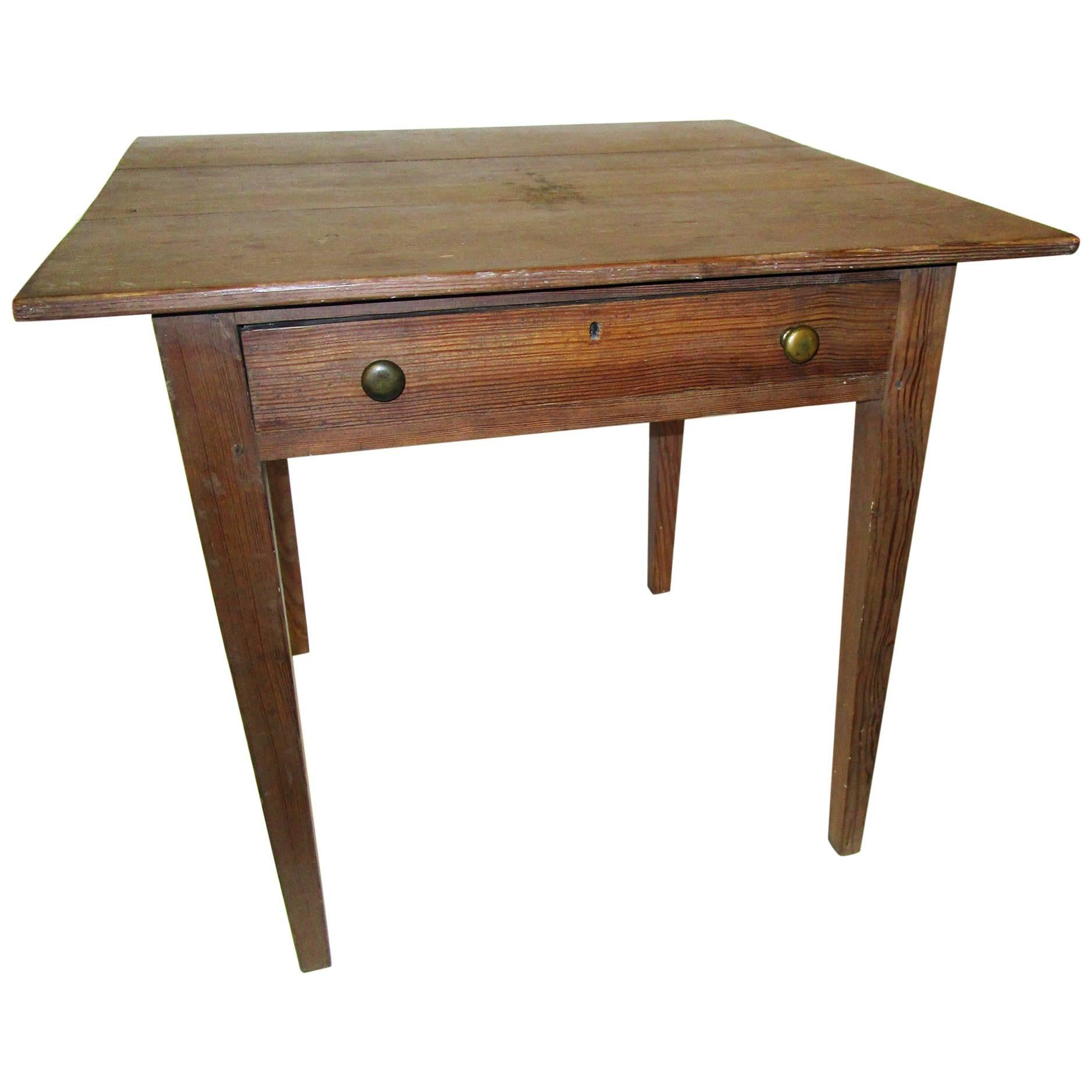 19th century American Primitive Cypress Work Table