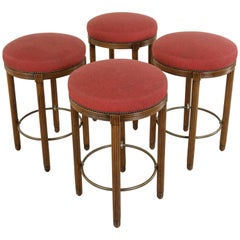 Two Pairs Midcentury Art Deco Walnut and Brass Bar Stools from Paris Fouquet's