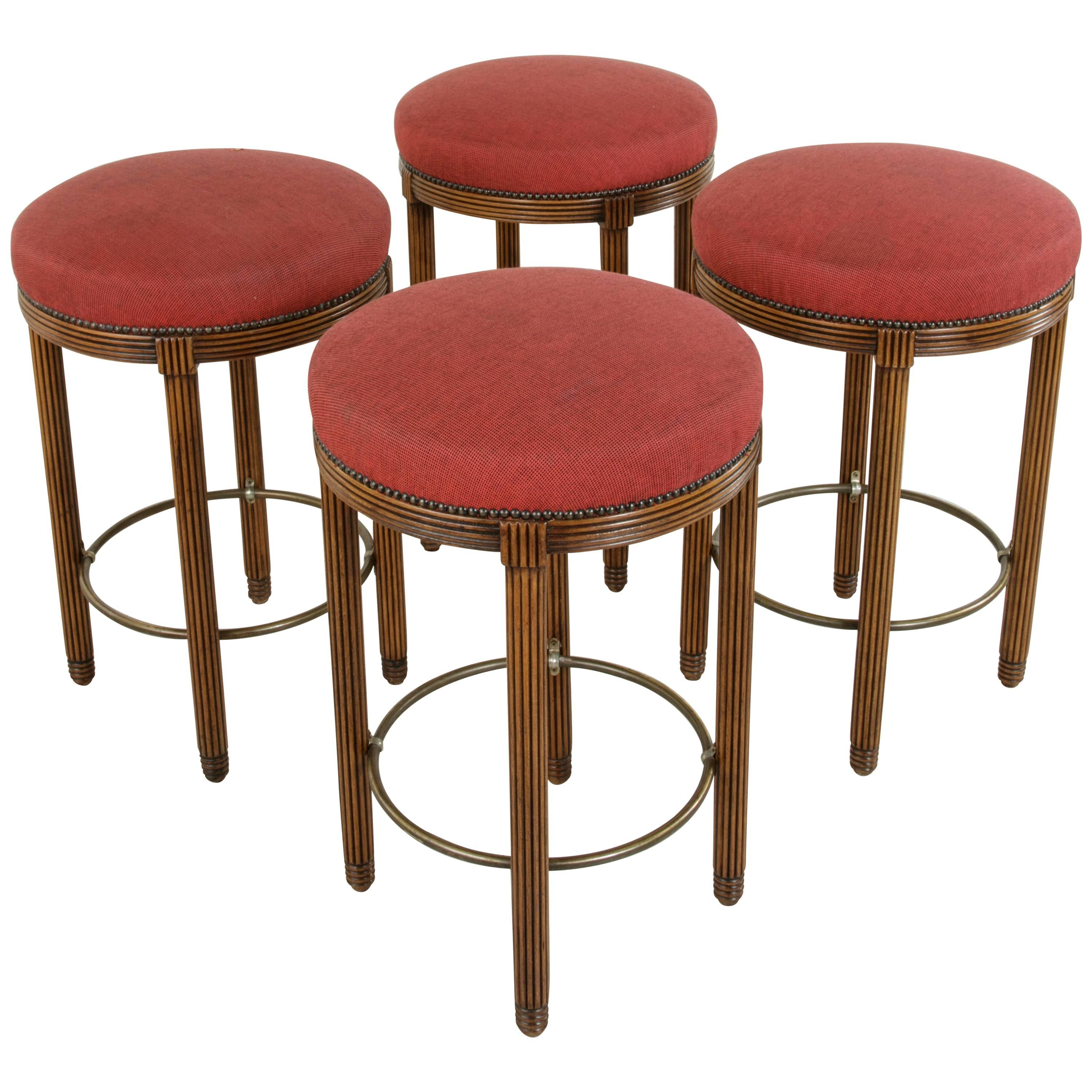 Two Pairs Midcentury Art Deco Walnut And Brass Bar Stools From Paris  Fouquetu0027s