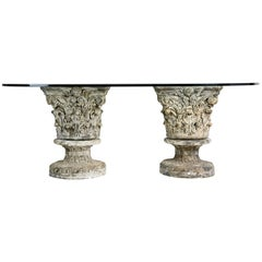 Monumental Glass Top Dining Table on Cast Stone Corinthian Pedestals
