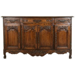 Early 20th Century French Louis XV Style Hand-Carved Oak Enfilade or Sideboard