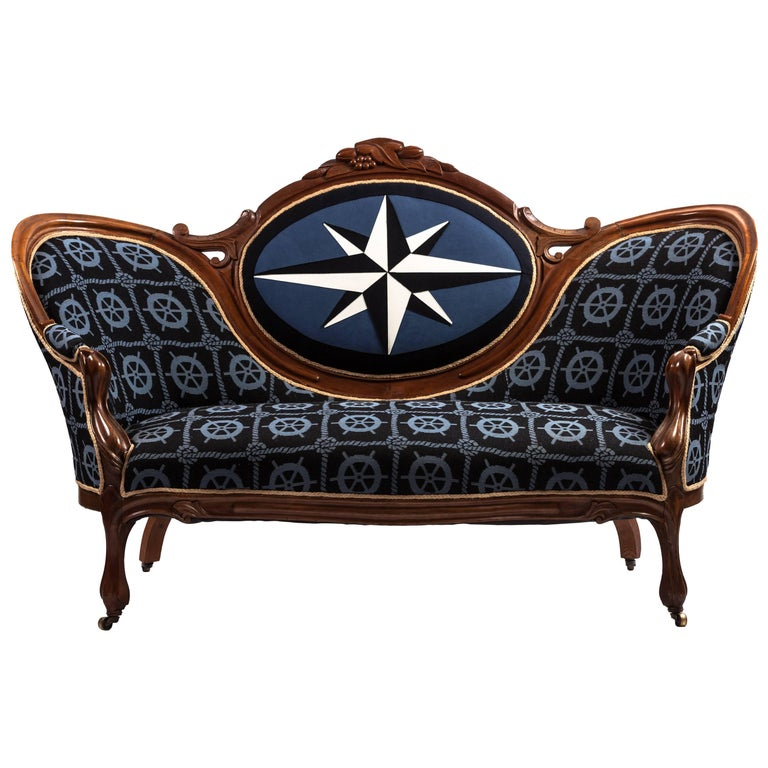 Nautical Upholstered 19th Century Victorian Settee