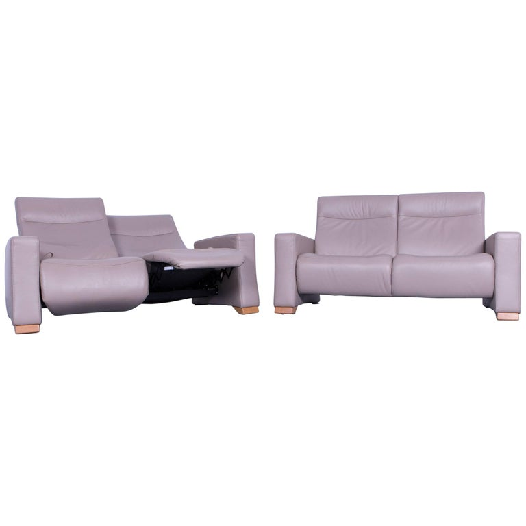 Himolla Designer Sofa Set Leather Crème Beige Couch Relax Function ...
